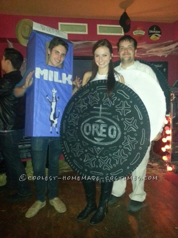 Coolest Milk and Cookies (Double Stuffed Oreo) Group Halloween Costume: So... it was the night before halloween, and two friends and I were lost about what we should do for Halloween. None of us had ever made a costume, bu