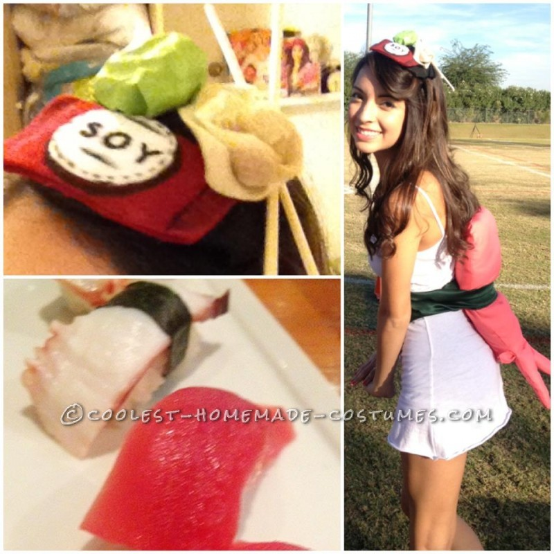 Original and Fun Homemade Costume: A Piece of Sushi!