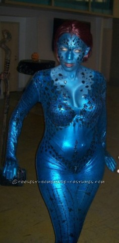 My Alter-Ego Mystique Homemade Halloween Costume: I actually decided last year that I would be Mystique for 2012 Halloween. I start preparing in April of 2012. I started with a blue full bodysuit. I t