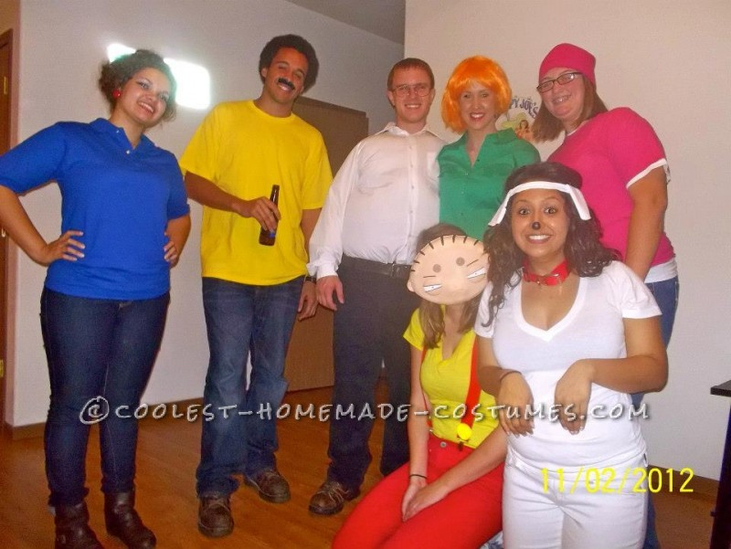 Homemade Family Guy Group Halloween Costume: For Halloween we wanted to be something as a group, something easy, and also something that we would not freeze in when we were outside! We decided to