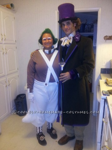 Since my husband is tall and slender, and I am short and chunky, we thought Willy Wonka and an Oompa Loompa would be perfect costumes! With the