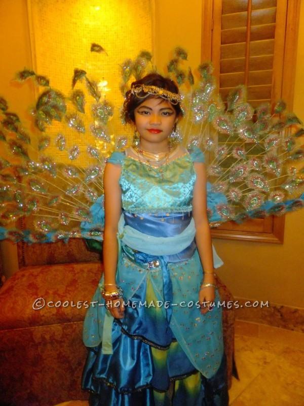 Creative Homemade Peacock Princess Costume for a Girl
