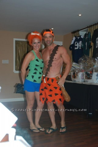 Pebbles and Bam-BamPebbles' costume was made using a green tank top bought from a second hand store. With a little help from my kids,