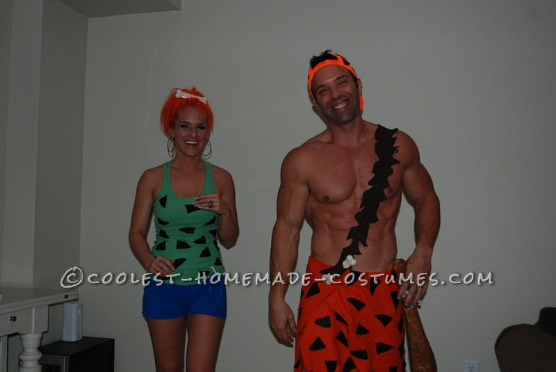 Pebbles and Bam-Bam Pebbles' costume was made using a green tank top bought from a second hand store. With a little help from my kids,