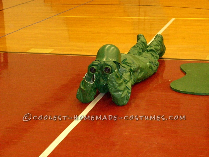 Homemade Plastic Green Army Man Halloween Costume for a Boy