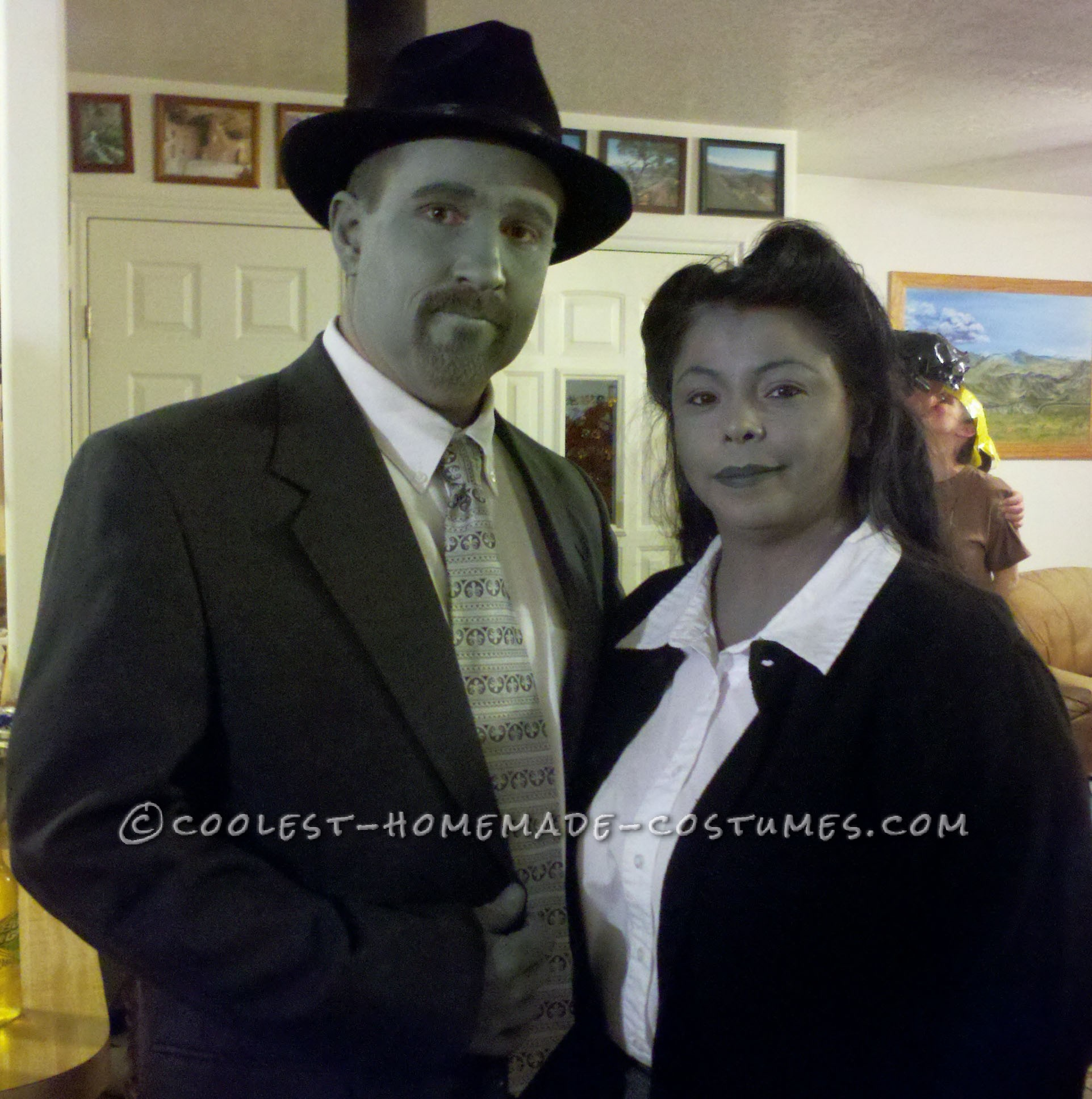 black and white couple costume inspired by pleasantville