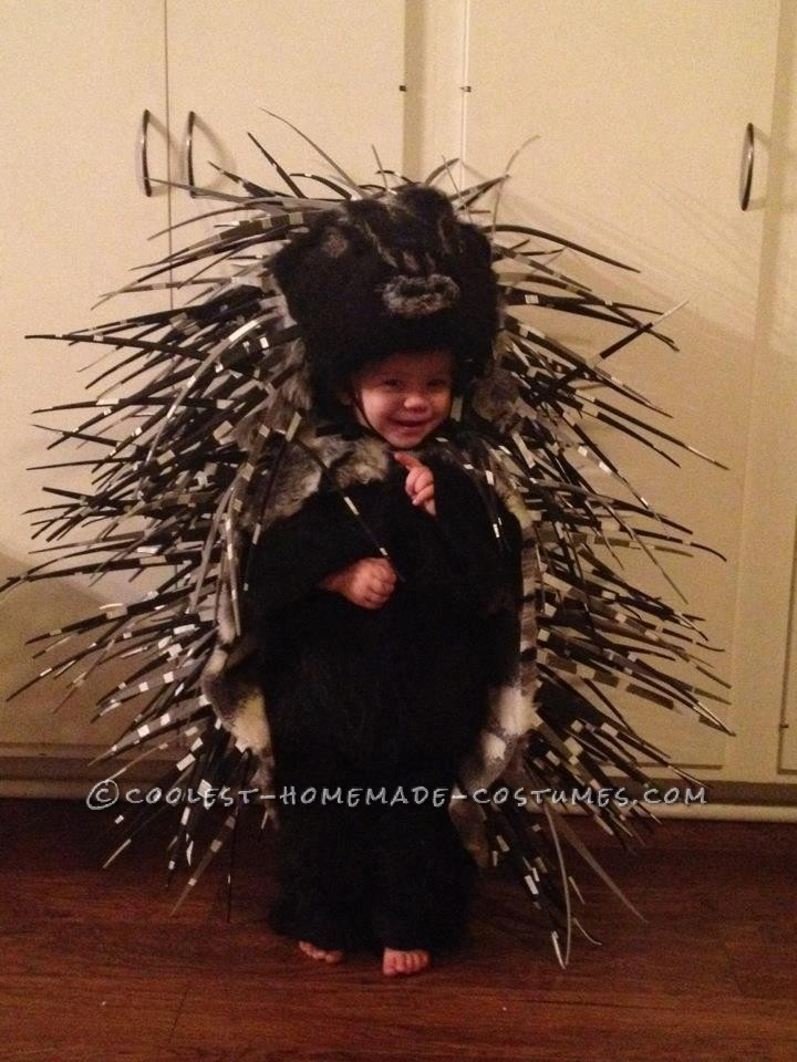 This is my daughter's porcupine costume from this year. She is two.We carved a porcupine head from a block of foam, cutting a round opening in the