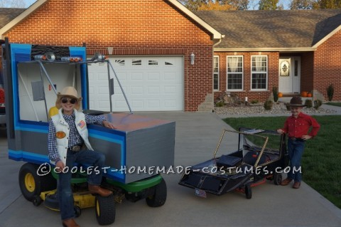 "Ridiculously Awesome Costume from Smokey and the Bandit: The Snowman and Bandit: Bandit and his Trans Am AND the Snowman and his Semi Truck  So what do you do when your sons come to you in May and say ""Mom we just thought of wh"