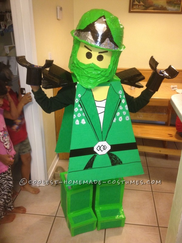 Coolest Homemade Green Ninjago Halloween Costume for a Boy: Like all eight year olds these days, my son is obsessed with Lego Ninjago. So of course he had to be Lloyd the Green Ninja this year. At first we cons