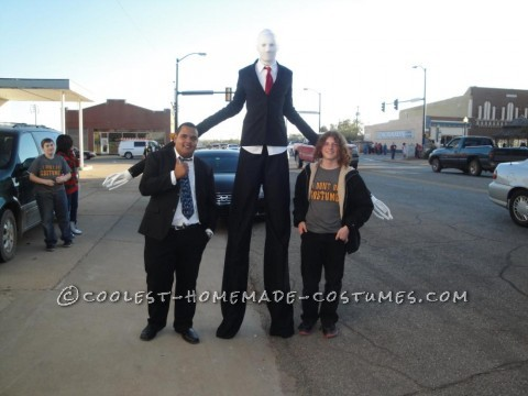 This was my 15 year old son\'s idea. Slenderman is a mythical creature turned video game persona. We went and bought two suit jackets at a thrift s