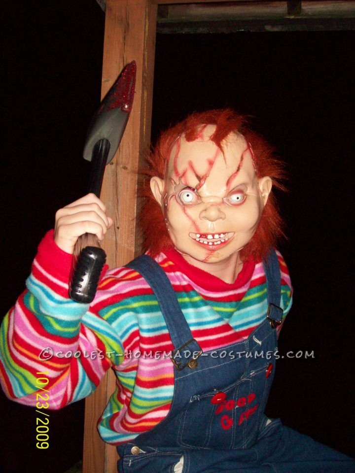 Creepy Seed of Chucky Homemade Halloween Costume: This Creepy Seed of Chucky homemade Halloween costume is a fairly simply costume to do. I purchased the rubber mask, the bib overalls, and the sneake