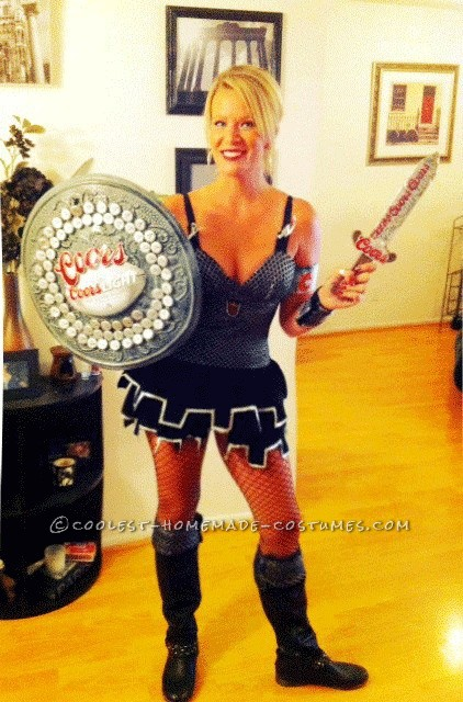 "Sexy and Funny Homemade Woman's Halloween Costume: Coors Knight: I Googled ""sexy knight"" costume and ended up with a great one. Next, I FORCED myself to drink Coors Light bottles over the course of a month and I sav"