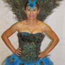 Sexy Peacock Costume: I started making my sexy Peacock costume about 3 weeks before Halloween. I purchased a corset from Charlotte Russe for $10, a tutu from Party City for