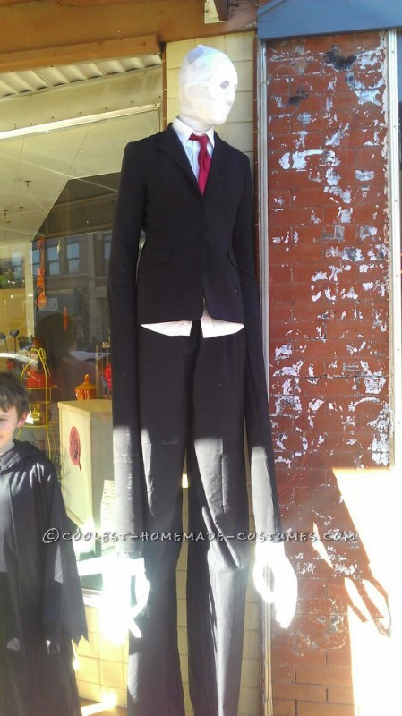 This was my 15 year old son's idea. Slenderman is a mythical creature turned video game persona. We went and bought two suit jackets at a thrift s