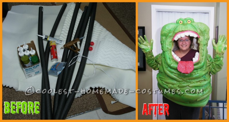 starting materials and finished SLIMER costume