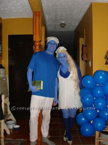 Homemade Smurf and Smurfette Couple Halloween Costume: I got the blue body paint at Omer De Serre, found a little white dress at Sears that reminds me the joyful spirit of The Smurfs so got to work on our