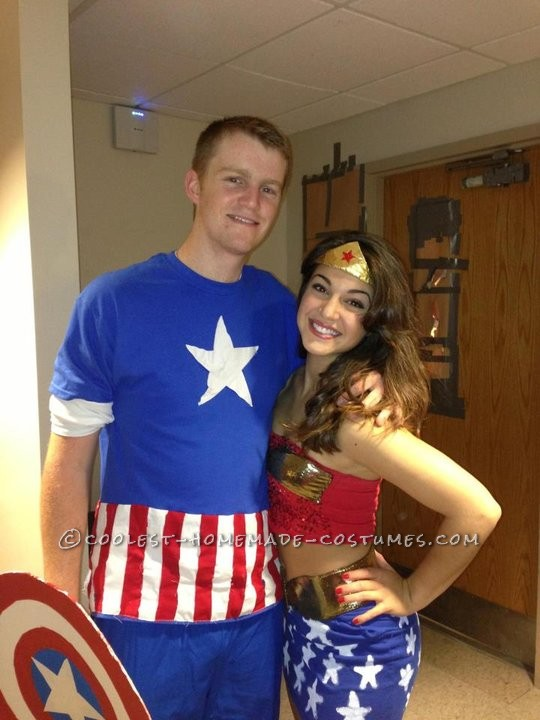 Wonder Woman: Started off with a red spangly tube top, with the \'W\' cut out of gold fabric and handstitched on. I tried it with duct tap