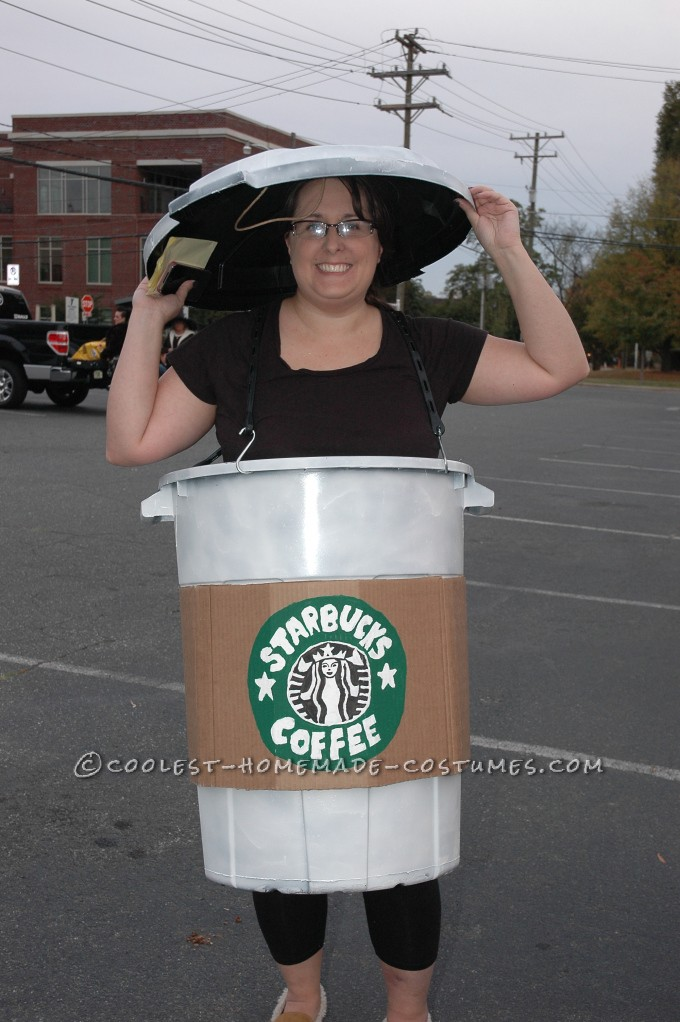 Coolest Starbucks Coffee Cup Costume Idea: I'm a Starbucks ADDICT so thisStarbucks Coffee Cup Costume was perfect for me!  I started by picking up a lightweight (cheap) trashcan from the ha