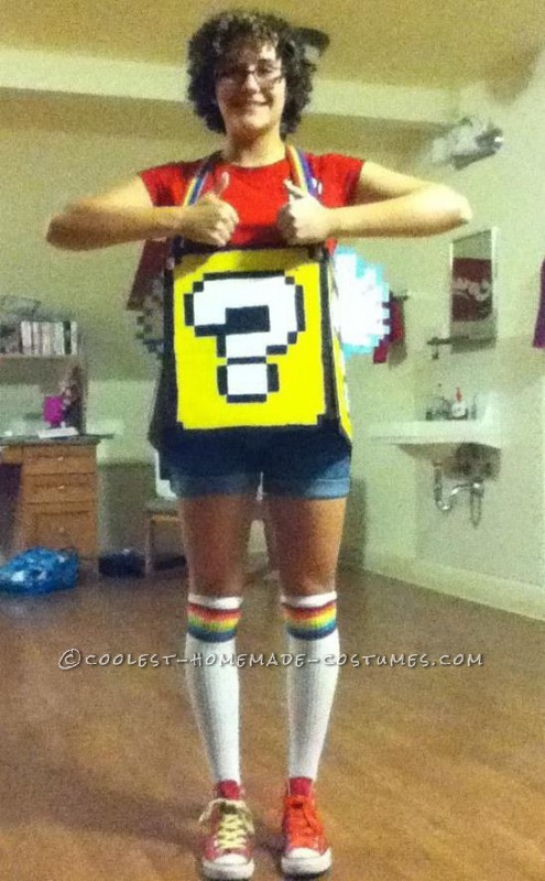 Super Mario Flying Question Mark Block Costume for the Broke College Girl!