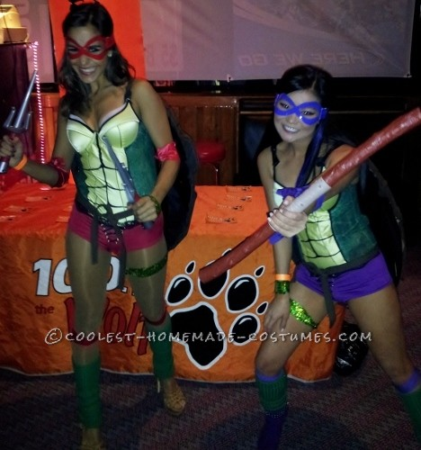 Sexy Homemade Teenage Mutant Ninja Turtles Costumes: For the body of the turtle we painted corsets. The shell we stapled wooden forms in the shape of a shell, covered the form with brown pleather, and dr