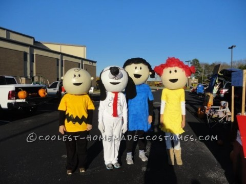 The Best Homeade Peanuts Gang Costume: We purchased 19 inch beach balls and paper mached with 3-4 layers for our Peanuts gang costume. Balls were then reinforced with Kilz and cardboard aro