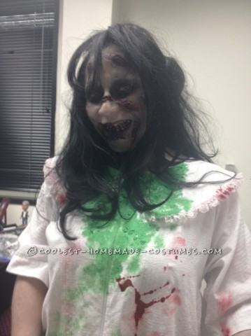 Creepy Homemade Regan Halloween Costume from The Exorcist: Every year my company hosts a huge Halloween party and costume contest. My co-workers and I are always trying to beat each other out for 1st place. Th