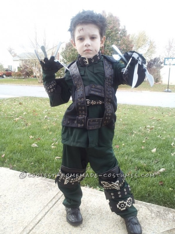 Young Edward Scissorhands Halloween Costume for a Boy: My 6 year old son decided in July this year that he wanted to be Edward Scissorhands for Halloween. Once he told me this I knew I had to get my crea