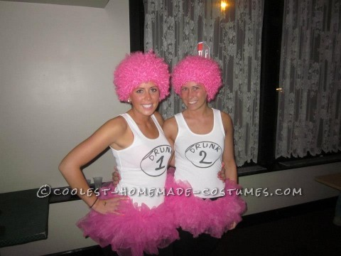 Homemade Drunk 1 and Drunk 2 Couple Costume with a Pink Twist!
