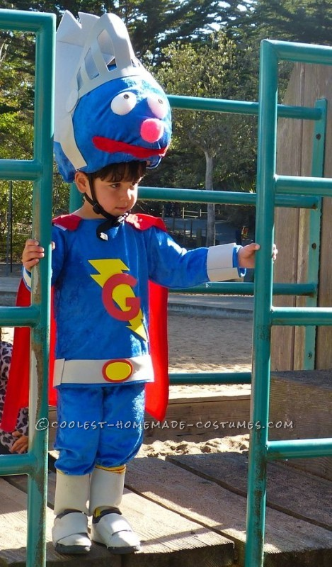 Coolest Homemade Toddler Super Grover 2.0 Costume