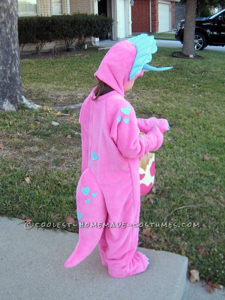 Homemade Pink Triceratops Halloween Costume for a Girl - 1