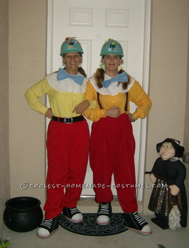 Cool Mother and Daughter Halloween Costume: Tweedle Dee and Tweedle Dumb: Of course I agreed to do these costumes with my mother on one condition....she had to be Tweedle Dumb! We work in industrial construction and wanted t
