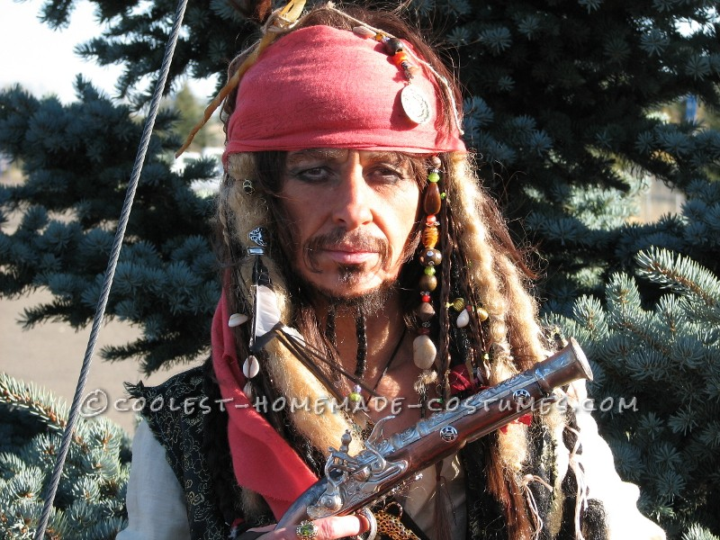 Homemade Captain Jack Sparrow Costume - Where's the Rum?: ThisCaptain Jack Sparrow costume was my funnest ever costume! I made the whole outfit from thrift store finds except for the compass which was bough
