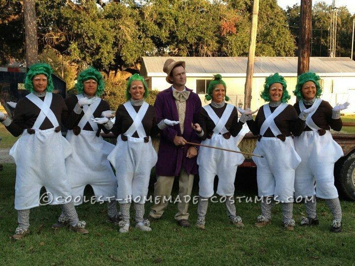 Large Group Halloween Costume Ideas.Cool Willy Wonka And The Oompa Loompas Group Halloween Costume