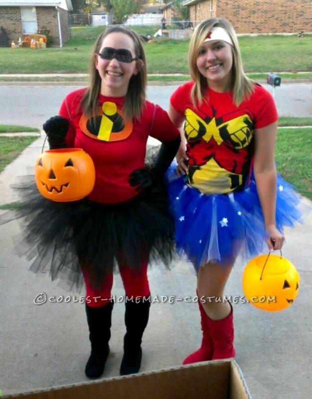 My best friend (Wonder Woman) and I, trick-or-treating through my neighborhood!