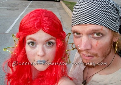 Detailed Magical Mermaid Costume with Giant Shell and Pirate