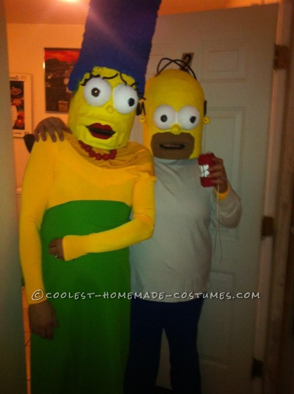 Cool Paper Mache Homer and Marge Couple Costume