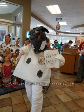 Recycled Plastic Bag Spotted Cow Costume