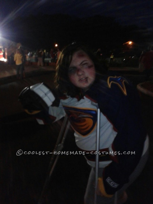 Bruised and Battered Hockey Player Costume to Play Up a Broken Leg