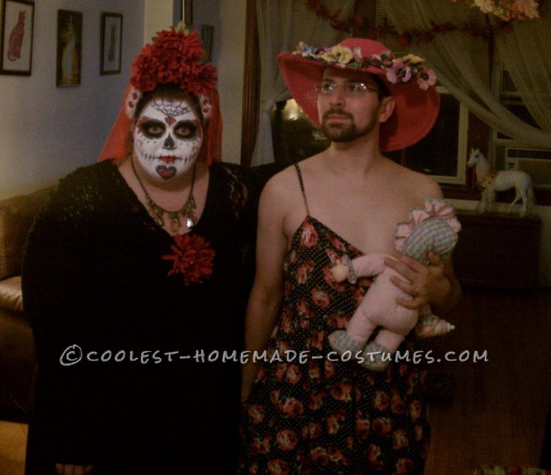 Proof we aren't cut out for couples costumes.  Dia de los muertes and a breastfeeding mother
