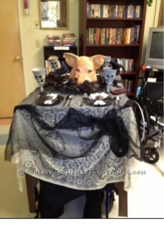 Head on a Platter Wheelchair Costume for 99 Year Old Granny! - 1