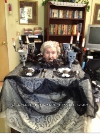 Head on a Platter Wheelchair Costume for 99 Year Old Granny!