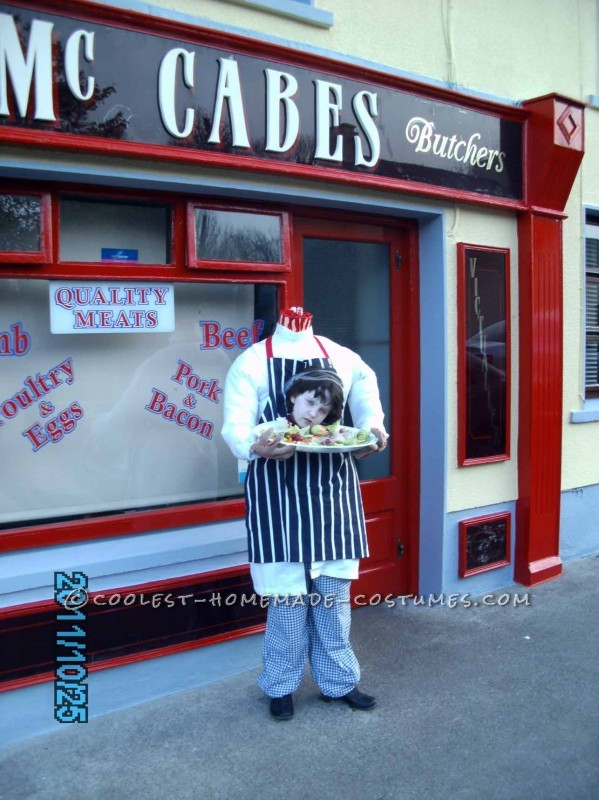 Awesome Headless Illusion Costume: A Headless Butcher Goes to School - 2
