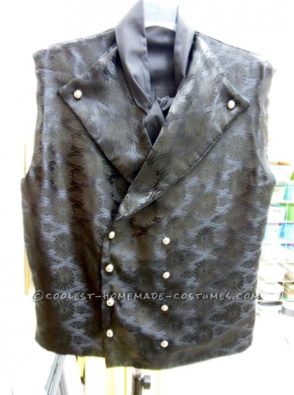 The handmade vest and cravat.