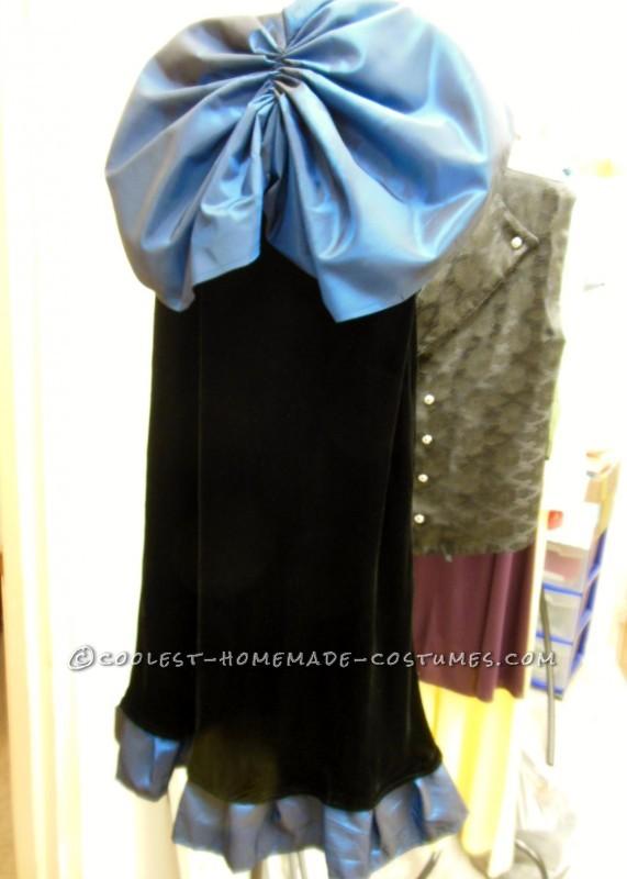 The handmade bustle and skirt.