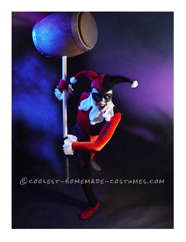 Custom Fabricated Harley Quinn costume and Mallet Prop modelled by 18 year old Drama Student