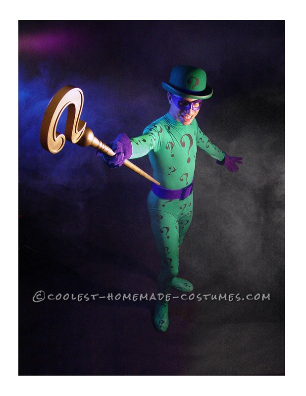 17 year old Drama Student models his custom-made Riddler costume and Walking Cane Prop.