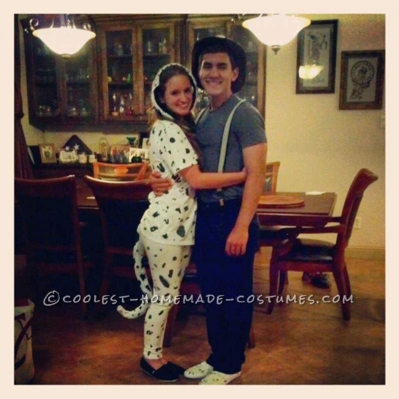 Cute Firefighter and Dalmatian Halloween Couples Costume - 1