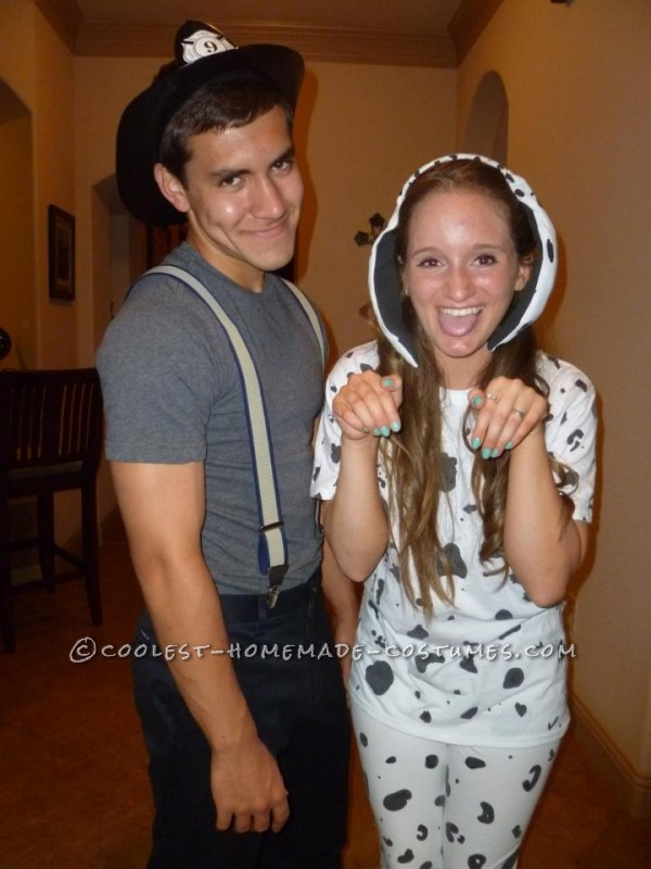 Cute Firefighter and Dalmatian Halloween Couples Costume