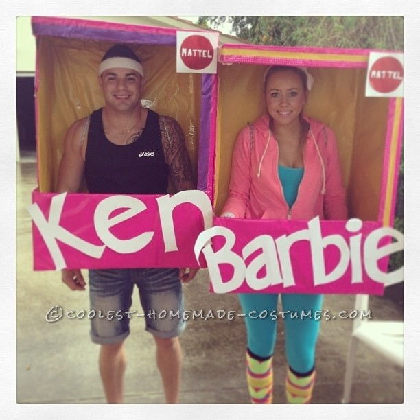 Homemade Sports Ken and Barbie In Box Costume