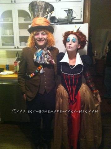 A Really Good Red Queen and the Mad Hatter Couple's Costume